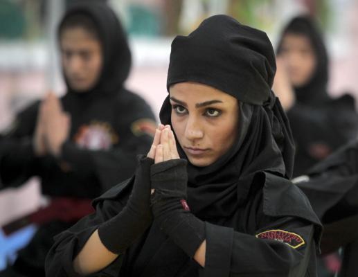 Women studying Ninjutsu in Iran